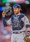 22 August 2015: Milwaukee Brewers catcher Jonathan Lucroy in action against the Washington Nationals at Nationals Park in Washington, DC. The Nationals defeated the Brewers 6-1 in the second game of their 3-game weekend series. Mandatory Credit: Ed Wolfstein Photo *** RAW (NEF) Image File Available ***