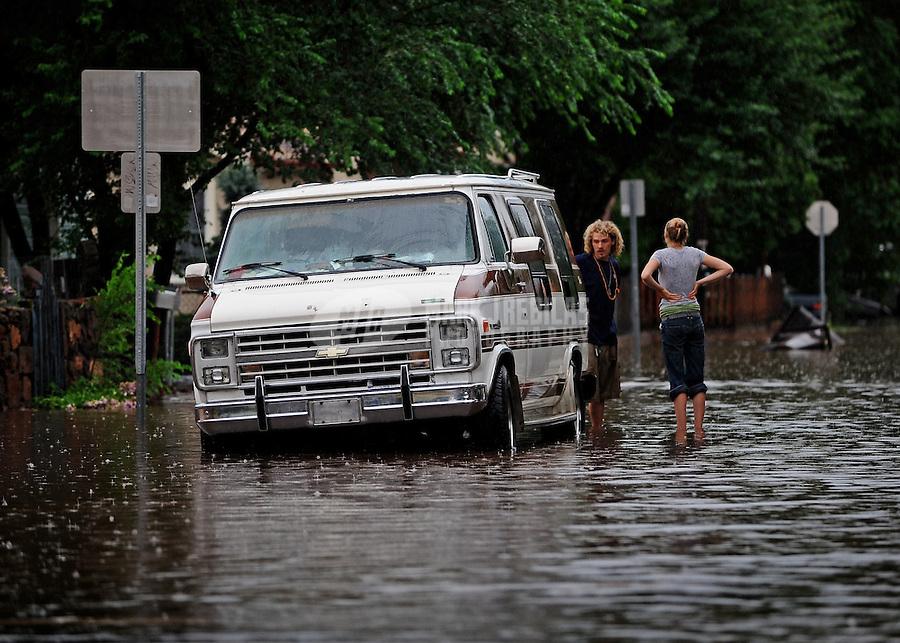Flood flooding chevrolet chevy van rain water flash monsoon Flagstaff Arizona people storm thunderstorm weather