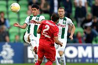 GRONINGEN - Voetbal , FC Groningen - FC Twente , KNVB Beker seizoen 2018-2019, 27-09-2018,  FC Groningen speler Uriel Antuna met FC Twente speler Ricardinho