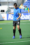 The Hague, Netherlands, June 01: Marcus Child #13 of New Zealand warms up before the field hockey group match (Men - Group B) between the Black Sticks of New Zealand and Korea on June 1, 2014 during the World Cup 2014 at GreenFields Stadium in The Hague, Netherlands. Final score 2:1 (1:0) (Photo by Dirk Markgraf / www.265-images.com) *** Local caption ***