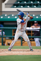 St. Lucie Mets shortstop J.C. Rodriguez (2) at bat during a game against the Lakeland Flying Tigers on June 11, 2017 at Joker Marchant Stadium in Lakeland, Florida.  Lakeland defeated St. Lucie 1-0.  (Mike Janes/Four Seam Images)