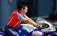 Sept. 29, 2012; Madison, IL, USA: NHRA pro stock motorcycle rider Hector Arana Jr during qualifying for the Midwest Nationals at Gateway Motorsports Park. Mandatory Credit: Mark J. Rebilas-