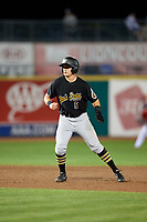 West Virginia Black Bears right fielder Brett Kinneman (5) leads off second base during a game against the State College Spikes on August 30, 2018 at Medlar Field at Lubrano Park in State College, Pennsylvania.  West Virginia defeated State College 5-3.  (Mike Janes/Four Seam Images)