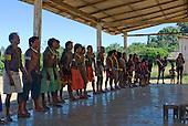 Pará State, Brazil. Aldeia Pukararankre (Kayapo). Singing in the warriors' house.