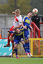 Mark Roberts of Stevenage and Miles Storey of Swindon compete for a header. Stevenage v Swindon Town - npower League 1 -  Lamex Stadium, Stevenage - 27th October, 2012. © Kevin Coleman 2012.