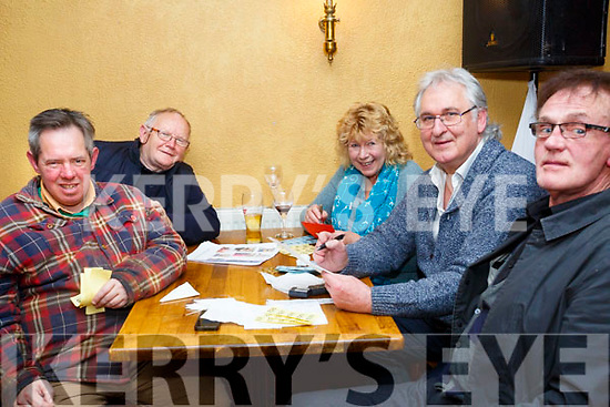 Enjoying the Kerry Coral Union Fundraiser Table Quiz at Stokers Lodge on Friday were William Moore Denis Moynihan, Linda Baker, Steve Baker and Maurice Moore