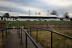 A view across the disused bank of terracing at Victory Park, before Chorley played Altrincham in a Vanarama National League North fixture. Chorley were founded in 1883 and moved into their present ground in 1920. The match was won by the home team by 2-0, watched by an above-average attendance of 1127.
