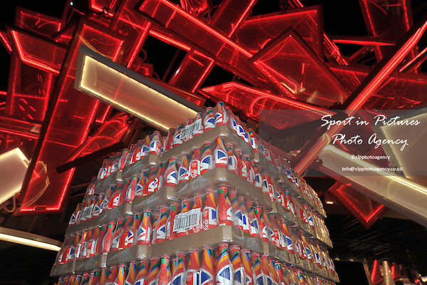 Re-stocking the Coca-Cola Beat Box. Olympic Park at night - PHOTO: Mandatory by-line: Garry Bowden/SIP/Pinnacle - Photo Agency UK Tel: +44(0)1363 881025 - Mobile:0797 1270 681 - VAT Reg No: 768 6958 48 - 02/08/2012 - 2012 Olympics - Olympic Park, London, England