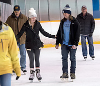 "With encouragement from Devon Bell, of Sarnia,  Shannon Wheat made her first skate since childhood at the Clearwater Arena. The pair joined a healthy crowd of avid skaters during the free adult skate which are held Monday through Thursday mornings. ""It's the first time I skated since I was a kid,"" Shannon said."