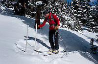 Colorado Avalanche Information Center (CAIC) Avalanche Forecaster Tim Brown (cq) shakes off a snow measuring device near Coon Hill, which stands about 11,150 feet in elevation around Summit County in Colorado, Thursday, February 16, 2012. Tests at this area showed that there was a fairly hard slab of snow resting on weaker snow beneath making conditions which can lead to avalanches...Photo by Matt Nager