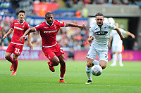 Sam Buram of Nottingham Forest vies for possession with Matt Grimes of Swansea City during the Sky Bet Championship match between Swansea City and Nottingham Forest at the Liberty Stadium, in Swansea, Wales, UK. Saturday 15 September 2018