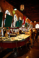 Fish stalls in the Rialto Market - Venice Italy