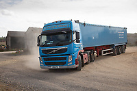 Grain lorry leaving a farmyard<br /> ©Tim Scrivener Photographer 07850 303986<br />      ....Covering Agriculture In The UK....