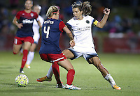 Boyds, MD - Saturday May 07, 2016: Washington Spirit defender Megan Oyster (4) defends against Portland Thorns FC midfielder Tobin Heath (17) during a regular season National Women's Soccer League (NWSL) match at Maureen Hendricks Field, Maryland SoccerPlex. Washington Spirit tied the Portland Thorns 0-0.