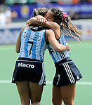 The Hague, Netherlands, June 14: Martina Cavallero #7 of Argentina and Rocio Sanchez Moccia #17 of Argentina celebrate after winning the bronze medal match (Women) between USA and Argentina on June 14, 2014 during the World Cup 2014 at Kyocera Stadium in The Hague, Netherlands. Final score 2-1 (2-1)  (Photo by Dirk Markgraf / www.265-images.com) *** Local caption ***