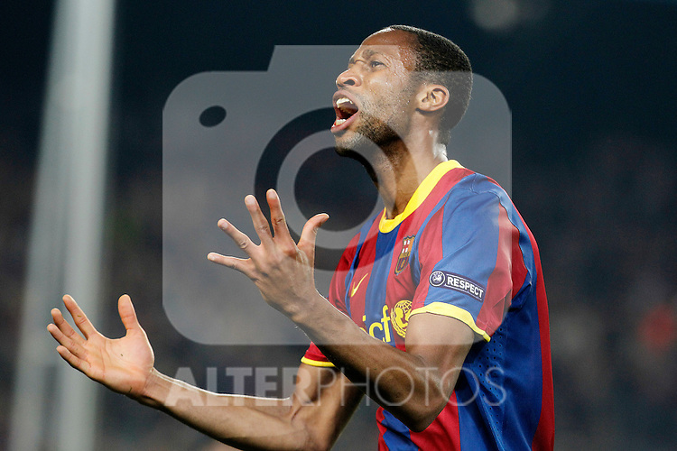 FC Barcelona's Seydou Keita celebrates goal during UEFA Champions League match.April 6,2011. (ALTERPHOTOS/Acero)