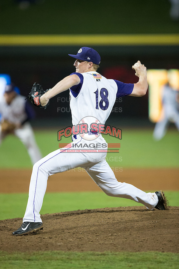 Winston-Salem Dash relief pitcher James Dykstra (18) in action against the Myrtle Beach Pelicans at BB&T Ballpark on August 20, 2015 in Winston-Salem, North Carolina.  The Dash defeated the Pelicans 5-4 on a walk-off wild pitch in the bottom of the 9th inning.  (Brian Westerholt/Four Seam Images)