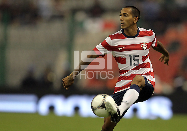 MEXICO CITY, MEXICO - AUGUST 15, 2012:  Edgar Castillo (15)of the USA MNT controls the ball against  Mexico during an international friendly match at Azteca Stadium, in Mexico City, Mexico on August 15. USA won 1-0.