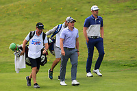 Paul Dunne (IRL) and Nacho Elvira (ESP) on the 1st fairway during Round 3 of the Open de Espana 2018 at Centro Nacional de Golf on Saturday 14th April 2018.<br /> Picture:  Thos Caffrey / www.golffile.ie<br /> <br /> All photo usage must carry mandatory copyright credit (&copy; Golffile | Thos Caffrey)
