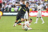 Landover, MD - August 4, 2018: Juventus forward Nicolo Fagioli avoids a tackle during the match between Juventus and Real Madrid at FedEx Field in Landover, MD.   (Photo by Elliott Brown/Media Images International)