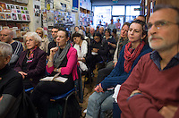 Audience at the event to discuss Leila Berg's contribution to radical education and children's lives, Houseman's bookshop, London, 22nd May 2013.