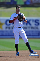 Tennessee Smokies third baseman Kris Bryant #17 at second base during a game against Chattanooga Lookouts at Smokies Park on April 10, 2014 in Kodak, Tennessee. The Lookouts defeated the Smokies 1-0. (Tony Farlow/Four Seam Images)