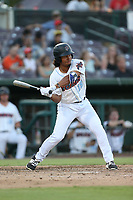 Jahmai Jones (19) of the Inland Empire 66ers bats against the Rancho Cucamonga Quakes at San Manuel Stadium on July 29, 2017 in San Bernardino, California. Inland Empire defeated Rancho Cucamonga, 6-4. (Larry Goren/Four Seam Images)