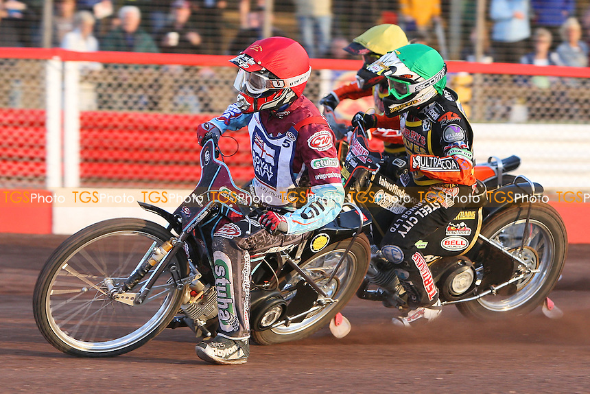 Heat 7: Joonas Kylmakorpi (red), Adam Skornicki (yellow) and Tai Woffinden - Sky Sports Elite League Speedway at Arena Essex Raceway, Purfleet, Essex - 24/06/09- MANDATORY CREDIT: Gavin Ellis/TGSPHOTO - Self billing applies where appropriate - 0845 094 6026 - contact@tgsphoto.co.uk - NO UNPAID USE.