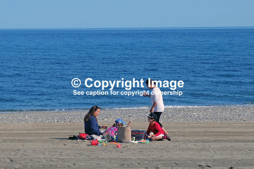 Picnic, beach, San Pedro de Alcantara, Marbella, Spain, Mediterranean, sea, coast, children, adults, April, 2016, 201603062383<br />