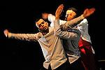 BON APP' !....Chorégraphie : Nabil Ouelhadj..Compagnie : Racines Carrées..Pour deux danseurs..Mustapha Bellal aka Moustik..Nabil Ouelhadj..Et un Beatboxer en live : Sébastien Kouadio aka Black Adopo..Lumières : Freddy Bonneau..Décor : Kim Creighton..Date : 18/01/2013..Cadre : Festival Suresnes cité danse 2013 / connexions #2..Lieu : Théâtre Jean Vilar..Ville : Suresnes..© Laurent Paillier / photosdedanse.com..All rights reserved