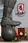 30th September 2017, Riverside Stadium, Middlesbrough, England; EFL Championship football, Middlesbrough versus Brentford; The Middlesbrough crest and the foot of the Goerge Hardwick statue at the Riverside Stadium