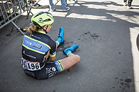 Emma Grant (GBR/Tibco) exhausted after finishing.<br /> <br /> 21st La Fl&egrave;che Wallonne Femmes <br /> 1 day race: Huy - Huy (118,5KM)