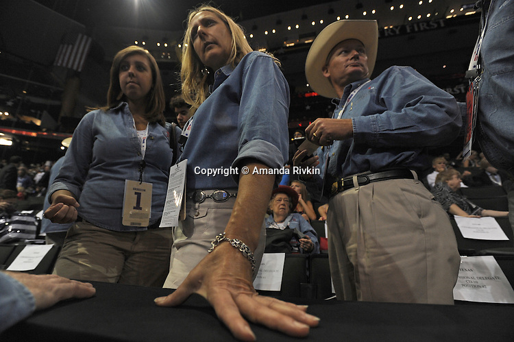 Texas delegates on the floor of the XCel Center as the Republican National Convention kicks off its first day of muted activities due to Hurricane Gustav in Saint Paul, Minnesota on September 1, 2008.