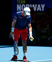 5th January 2020; RAC Arena, Perth, Western Australia; ATP Cup Australia, Perth, Day 3; Italy versus Norway; Christian Ruud Captain of Norway prepares to serve to Fabio Fognini of Italy - Editorial Use