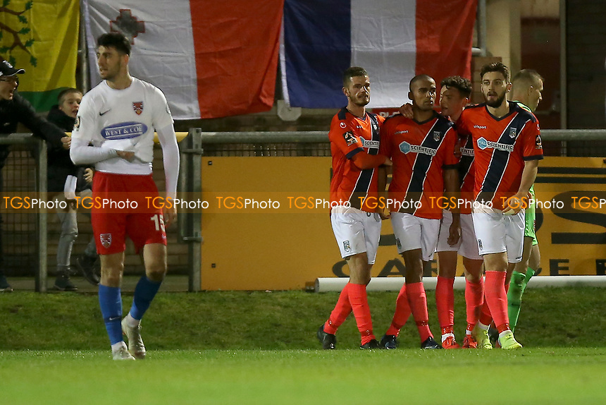Remy Clerima of Maidenhead scores the second goal for his team and celebrates with his team mates during Dagenham & Redbridge vs Maidenhead United, Vanarama National League Football at the Chigwell Construction Stadium on 7th December 2019