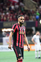 ATLANTA, GA - MARCH 07: ATLANTA, GA - MARCH 07: Atlanta United defender Anton Walkes receives instructions to  during the match against FC Cincinnati, which Atlanta won, 2-1, in front of a crowd of 69,301 at Mercedes-Benz Stadium during a game between FC Cincinnati and Atlanta United FC at Mercedes-Benz Stadium on March 07, 2020 in Atlanta, Georgia.