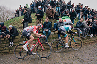 Tim Wellens (BEL/Lotto-Soudal) charging up the infamous Kapelmuur<br /> <br /> 74th Omloop Het Nieuwsblad 2019 <br /> Gent to Ninove (BEL): 200km<br /> <br /> ©kramon