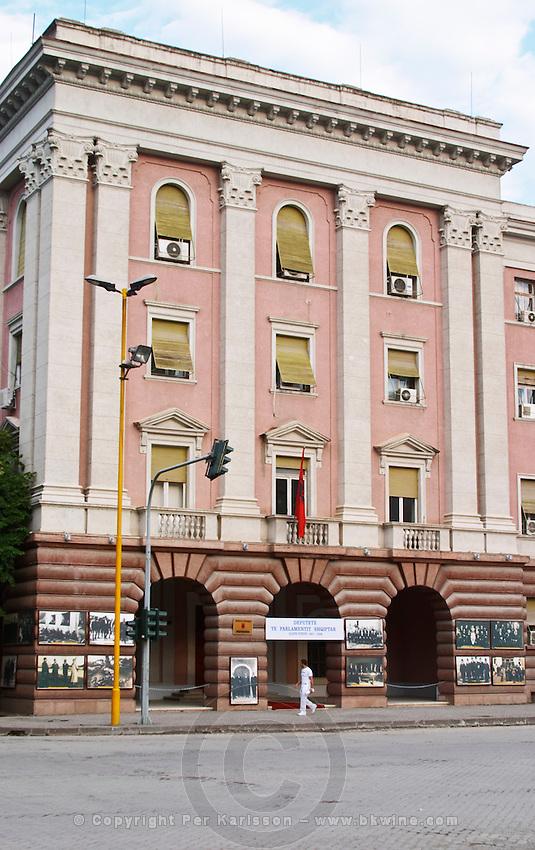 The House Parliament building in Albania on the boulevard Bulevardi Deshmoret e Kombit. Tirana capital. Albania, Balkan, Europe.