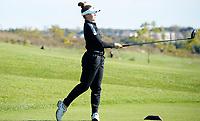 Stoughton's Myranda Kotlowski tees off on No. 1 during the Wisconsin WIAA state girls high school golf tournament on Monday, 10/14/19 at University Ridge Golf Course