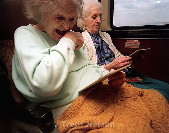 Old ladies playing BINGO on fun bus to Wendover.<br />