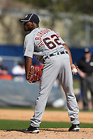 Detroit Tigers Al Alburquerque #62 during a Spring Training game vs the Toronto Blue Jays at Florida Auto Exchange Stadium in Dunedin, Florida;  February 26, 2011.  Detroit defeated Toronto 4-0.  Photo By Mike Janes/Four Seam Images