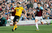 Wolverhampton Wanderers' Joao Moutinho under pressure from Burnley's Ashley Westwood<br /> <br /> Photographer Rich Linley/CameraSport<br /> <br /> The Premier League - Burnley v Wolverhampton Wanderers - Saturday 30th March 2019 - Turf Moor - Burnley<br /> <br /> World Copyright © 2019 CameraSport. All rights reserved. 43 Linden Ave. Countesthorpe. Leicester. England. LE8 5PG - Tel: +44 (0) 116 277 4147 - admin@camerasport.com - www.camerasport.com
