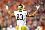 Blacksburg, VA - OCT 6, 2018: Notre Dame Fighting Irish wide receiver Chase Claypool (83) celebrates a 1st half Notre Dame touchdown during game between Notre Dame and Virginia Tech at Lane Stadium/Worsham Field Blacksburg, VA. (Photo by Phil Peters/Media Images International)