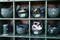 CARY, NC - FEBRUARY 23: Wagner College batting helmets during a game between Wagner and Penn State at Coleman Field at USA Baseball National Training Complex on February 23, 2020 in Cary, North Carolina.