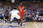 11 November 2016: Marist's Khallid Hart (5) and Duke's Matt Jones (13). The Duke University Blue Devils hosted the Marist College Red Foxes at Cameron Indoor Stadium in Durham, North Carolina in a 2016-17 NCAA Division I Men's Basketball game. Duke won the game 94-49.
