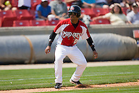 Dave Sappelt #6 of the Carolina Mudcats takes his lead off of third base against the Jacksonville Suns at Five County Stadium May 16, 2010, in Zebulon, North Carolina.  Photo by Brian Westerholt /  Seam Images