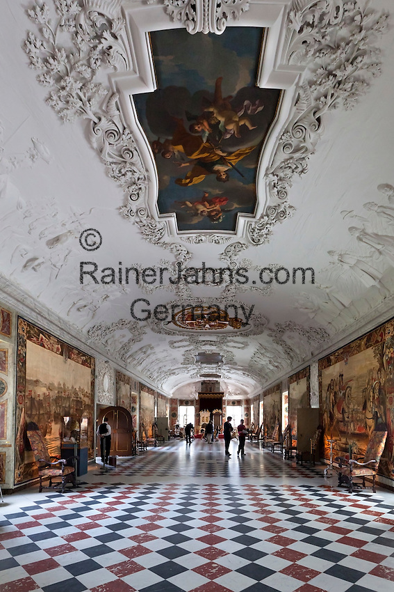Denmark, Zealand, Copenhagen: Rosenborg Slot (castle), built as Summer House in 1606-1634 for Christian 4th. The Knights' Hall, formely called the Long Hall with white stucco ceiling | Daenemark, Insel Seeland, Kopenhagen: Schloss Rosenborg erbaut 1606-1634 von Christian IV., der Rittersaal mit weisser Stuckdecke