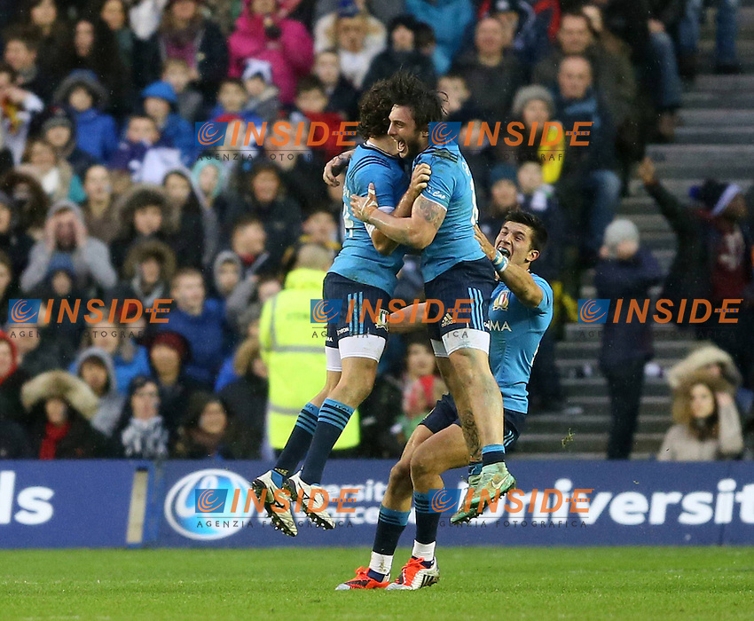 Enrico Bacchin of Italy Celebrates The Win by Jumping Up with Michele Visentin of Italy RBS 6Nations 2015 Scotland vs Italy BT Murrayfield Stage Edinburgh Scotland 28th February 2015 Picture Simon Bellis/sportimage/Imago/insidefoto <br /> Scozia Italia Rugby 6 Nazioni