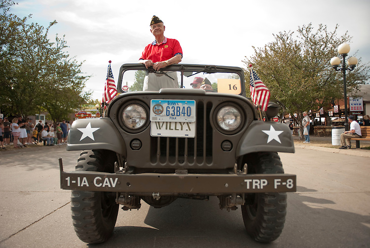 UNITED STATES - AUGUST 15:  Rep. Leonard Boswell, D-Iowa, a Vietnam veteran, rides in the Veteran's parade at the Iowa State Fair in Des Moines, Iowa.  (Photo By Tom Williams/Roll Call)
