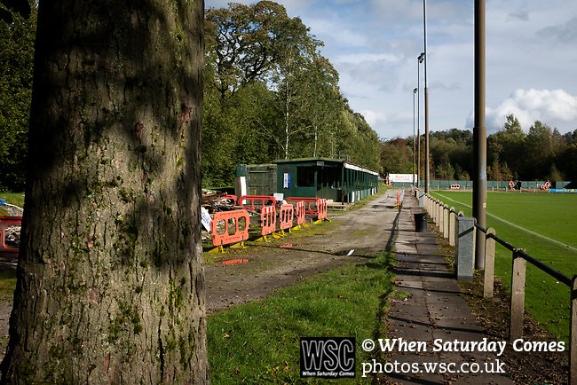 Nelson 3 Daisy Hill 6, 12/10/2019. Victoria Park, North West Counties League, First Division North. The main stand, pictured before Nelson hosted Daisy Hill at Victoria Park. Founded in 1881, the home club were members of the Football League from 1921-31 and has played at their current ground, known as Little Wembley, since 1971. The visitors won this fixture 6-3, watched by an attendance of 78. Photo by Colin McPherson.